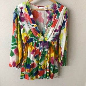Gorgeous colorful bell sleeve cotton tunic